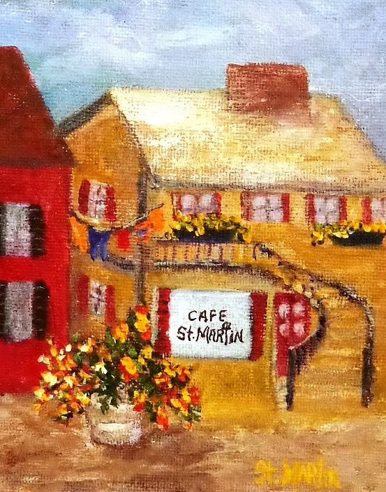 Cafe Painting - Cafe St.martin by Annie St Martin