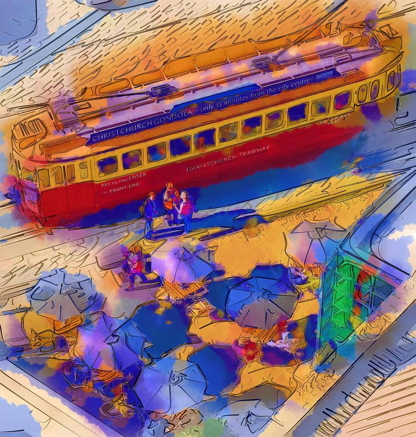Cafe Digital Art - Cafe Tram Scenee by Sam Barrow