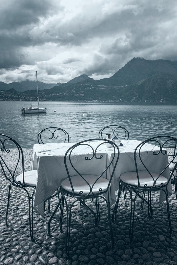 Joan Carroll Photograph - Cafe View Of Lake Como Italy Ice Cool by Joan Carroll