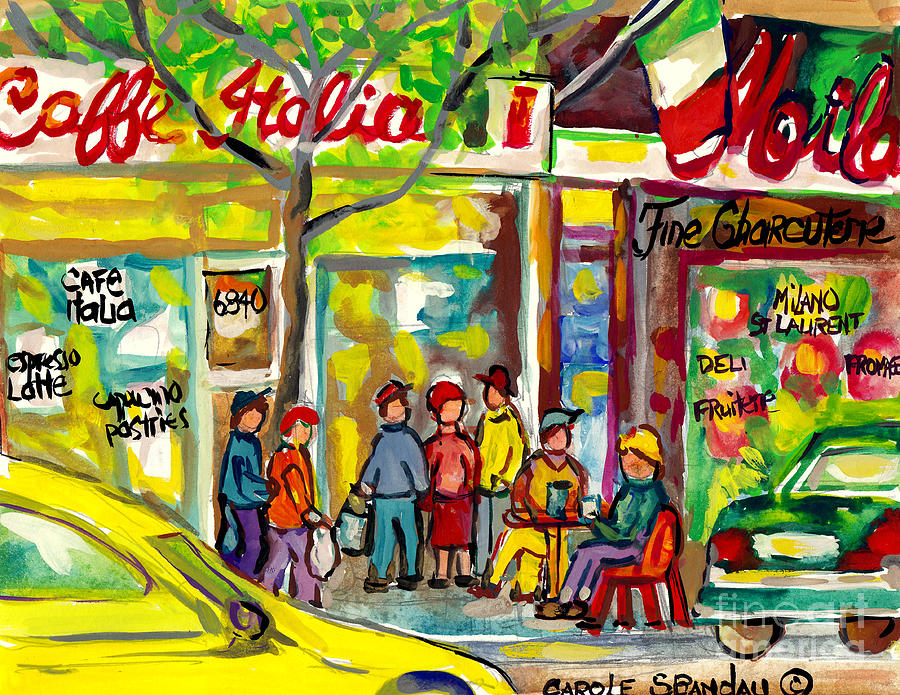 Montreal Painting - Caffe Italia And Milano Charcuterie Montreal Watercolor Streetscenes Little Italy Paintings Cspandau by Carole Spandau