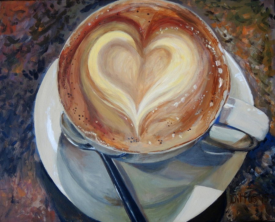 Cappuccino Painting - Caffe Veros Heart by Chrissey Dittus