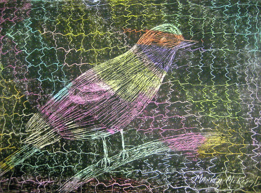 Caged Bird Drawing - Caged Bird by Marita McVeigh