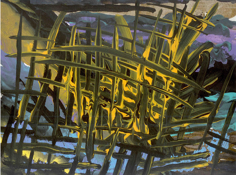Abstract Painting - Caged by Helene Henderson