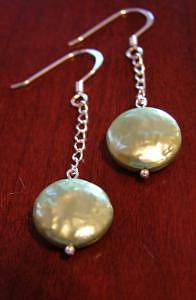 Green Jewelry - Cai Green Coin Pearl Drop Earrings by MIchelle LaCoille