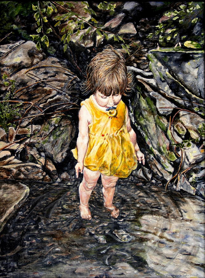 Children Painting - Caice At Otter Creek by Thomas Akers
