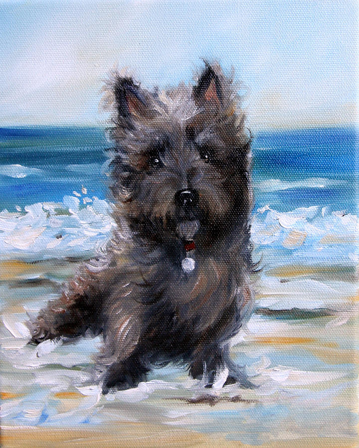 Cairn Terrier Painting - Cairn On The Beach by Mary Sparrow