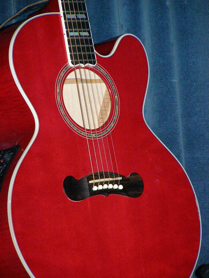 Guitar Photograph - Caitlyns Red Guitar  by Christine Sullivan Cuozzo