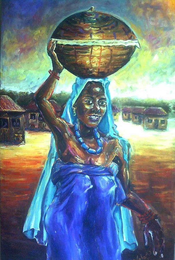 Lady In Blue Painting - Calabash Lady In Blue by Wale Adeoye