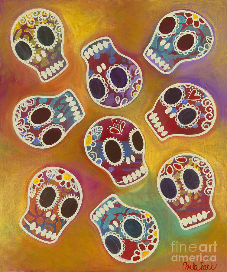Skulls Painting - Calaberitas Day Of The Dead Skulls by Carla Bank