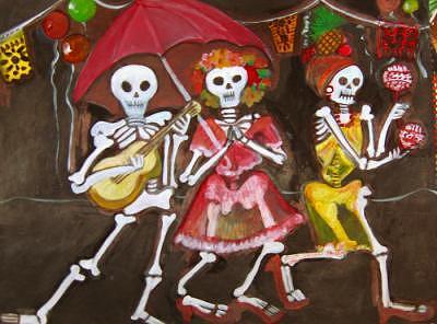 Color Painting - Calaca Mambo by Ruth Olivar Millan
