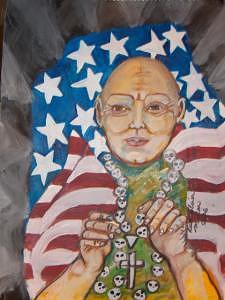 Rosary Painting - Calaca Rosary by Ruth Olivar Millan