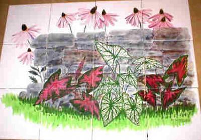 Ceramic Ceramic Art - Caladiums Art Tile Mural by Dy Witt