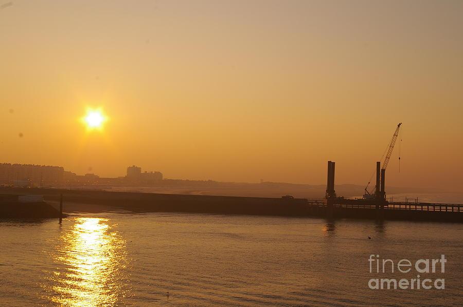 Sunset Photograph - Calais Harbour by Catja Pafort