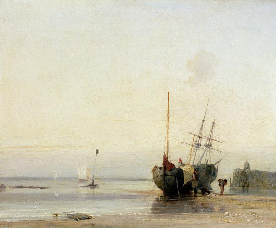 Calais Painting - Calais Pier by Richard Parkes Bonington