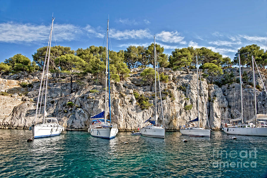 Calanque Photograph - Calanque And Boats by Delphimages Photo Creations