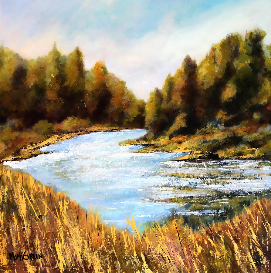 Oregon Painting - Calapooia River by Marti Green