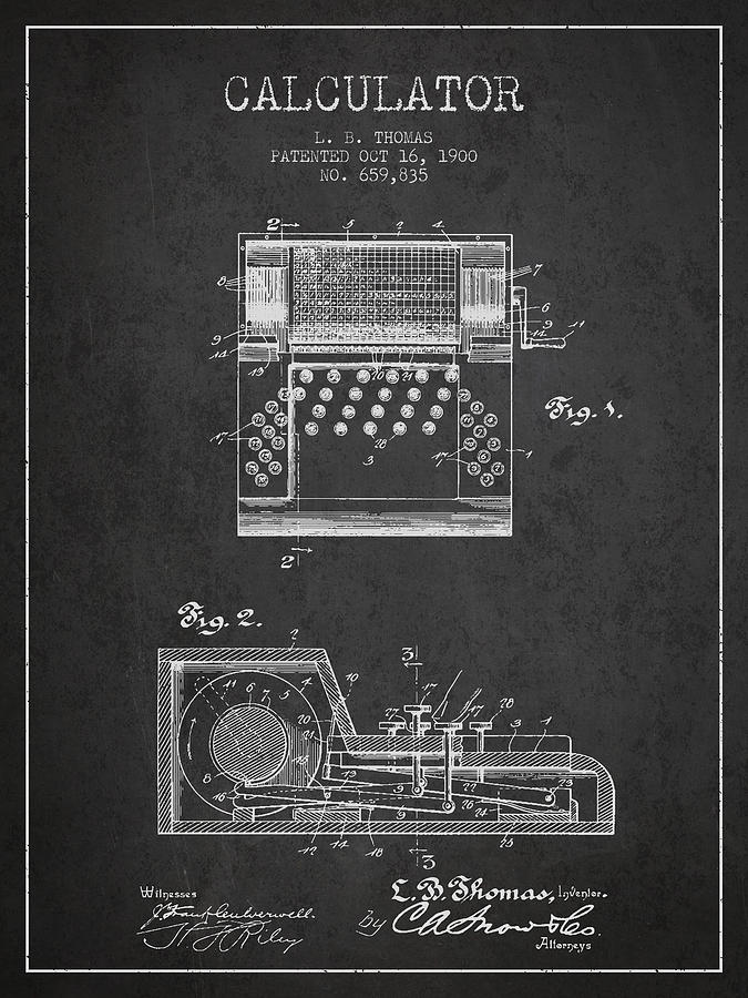 Calculator Patent From 1900 - Charcoal