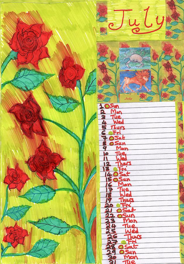 July Drawing - Calendar page for July 2018 by Sushila Burgess