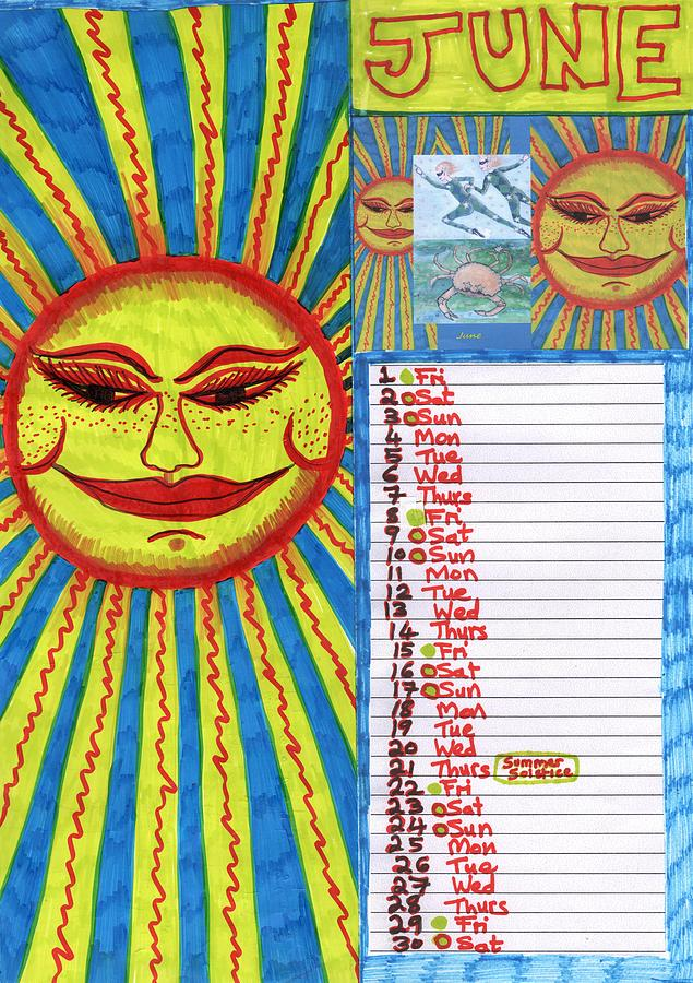 June Drawing - Calendar page for June 2018 by Sushila Burgess