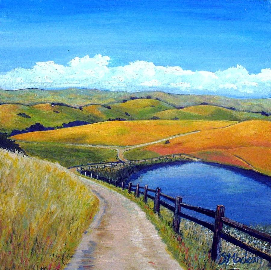 Landscape Paintings Painting - Calero Pond by Stephanie  Maclean
