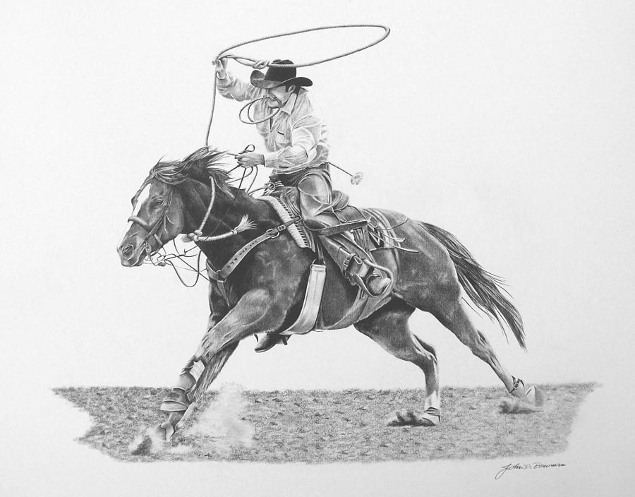 Rodeo Drawing - Calf Roper by John Bowman