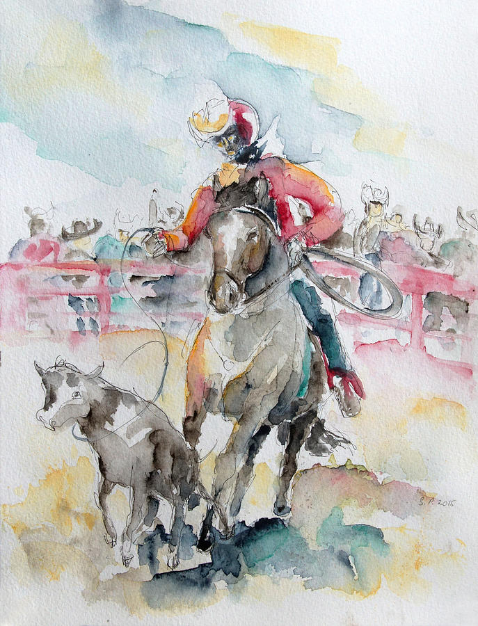 Horse Painting - Calf Roping by Barbara Pommerenke