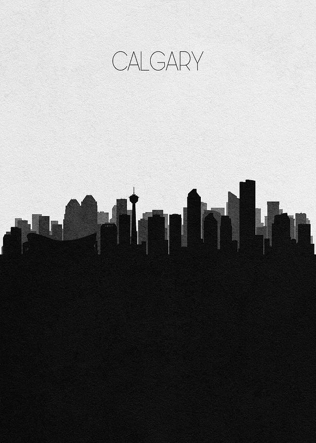 Calgary Digital Art - Calgary Cityscape Art by Inspirowl Design