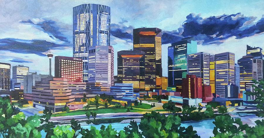Calgary Painting - Calgary Downtown Evening by Nel Kwiatkowska