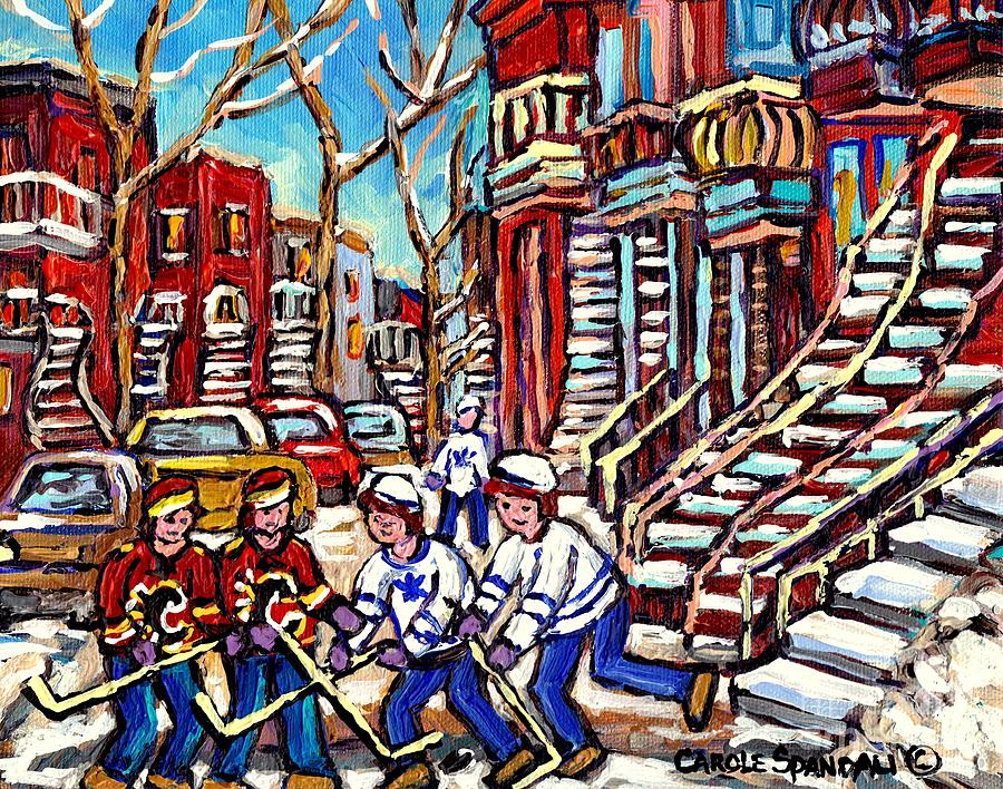 37f5924dc Calgary Flames Vs Maple Leafs Hockey Art Kids Winter Fun Montreal Streets  And Staircases Canada Art