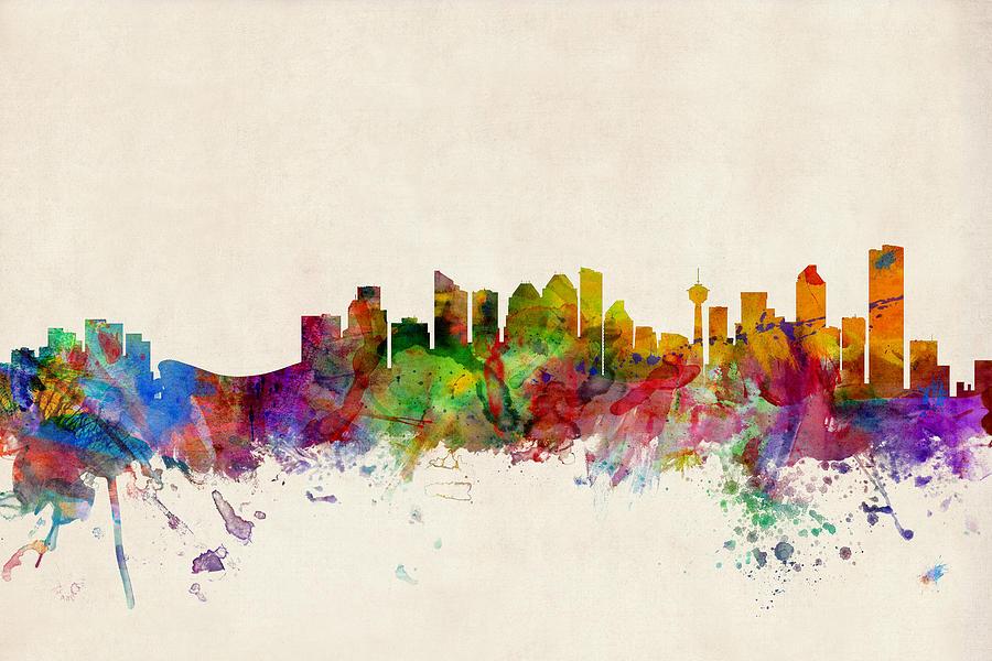 City Skyline Digital Art - Calgary Skyline by Michael Tompsett