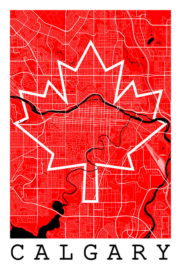 Calgary On Map Of Canada.Calgary Street Map Calgary Canada Road Map Art On Canada Flag Symbols By Jurq Studio