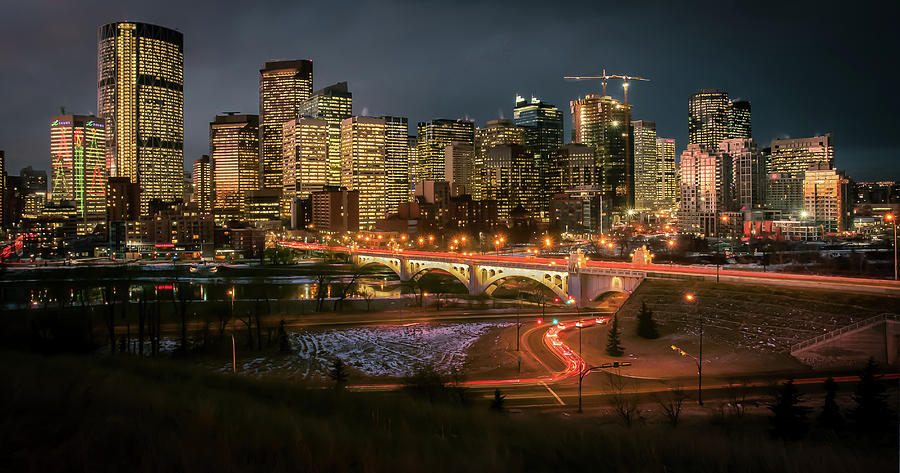 Calgary Twilight Skyline by Ward Cameron