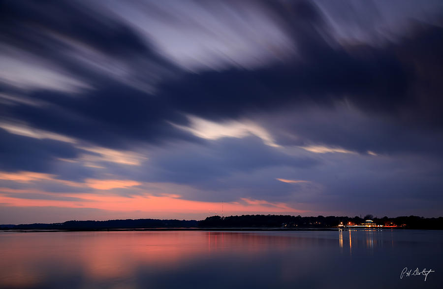 Clouds Photograph - Calibogue Sound After Dark by Phill Doherty