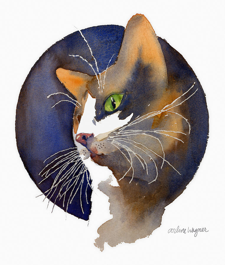 Cat Painting - Calico by Arline Wagner