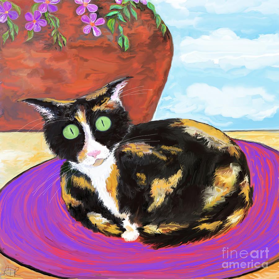 Calico cat on a rug  by REINA RESTO