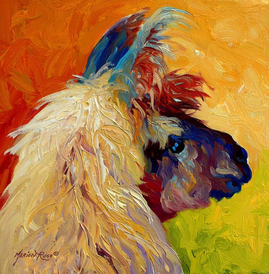 Llama Painting - Calico Llama by Marion Rose