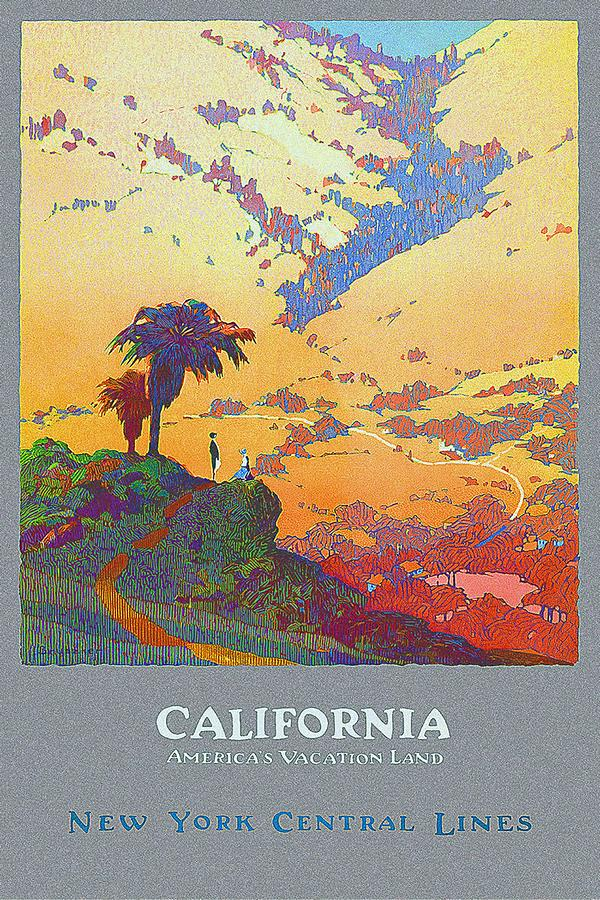 California - Americas Vacation Land And New York Central Lines - Retro Travel Poster - Vintage Mixed Media