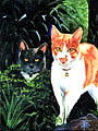 Cats Painting - California Cats by Ti  Tolpo Bader