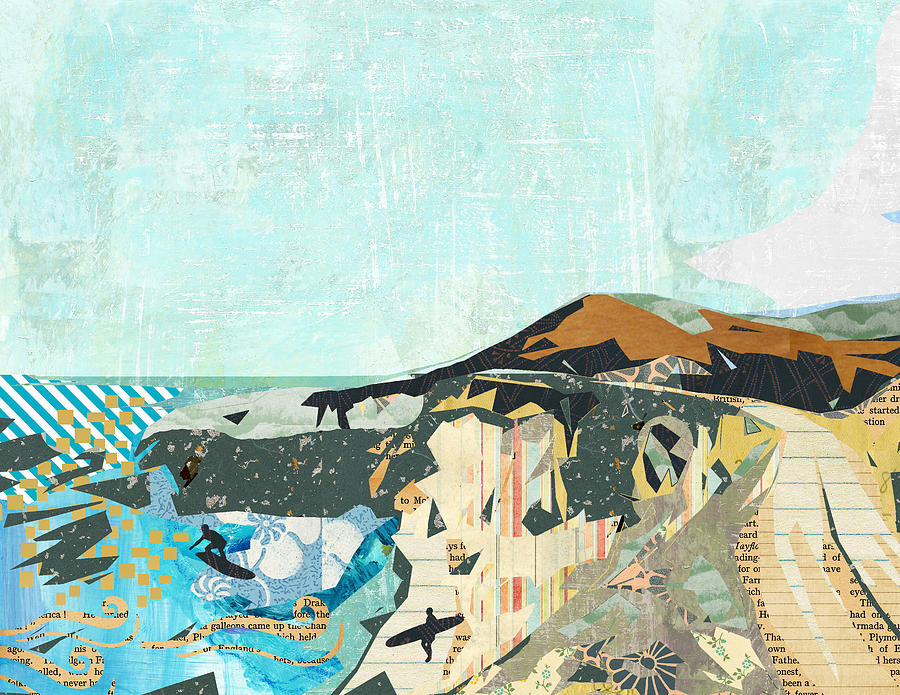 Highway Mixed Media - California Coast Collage by Claudia Schoen