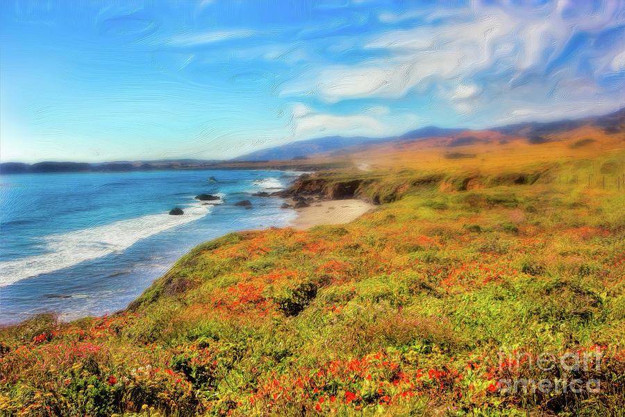 California Painting - California Coast Wildflowers On Cliffs Ap by Dan Carmichael