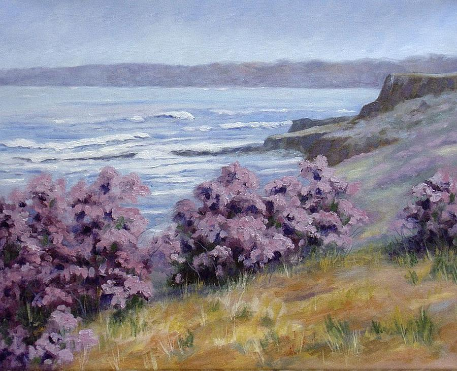 Landscape Painting - California Coastline by Debra Mickelson