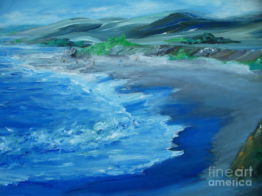 California Coast Painting - California Coastline Impressionism by Eric  Schiabor