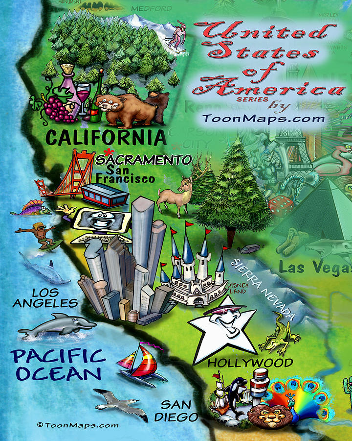 California Fun Map Digital Art