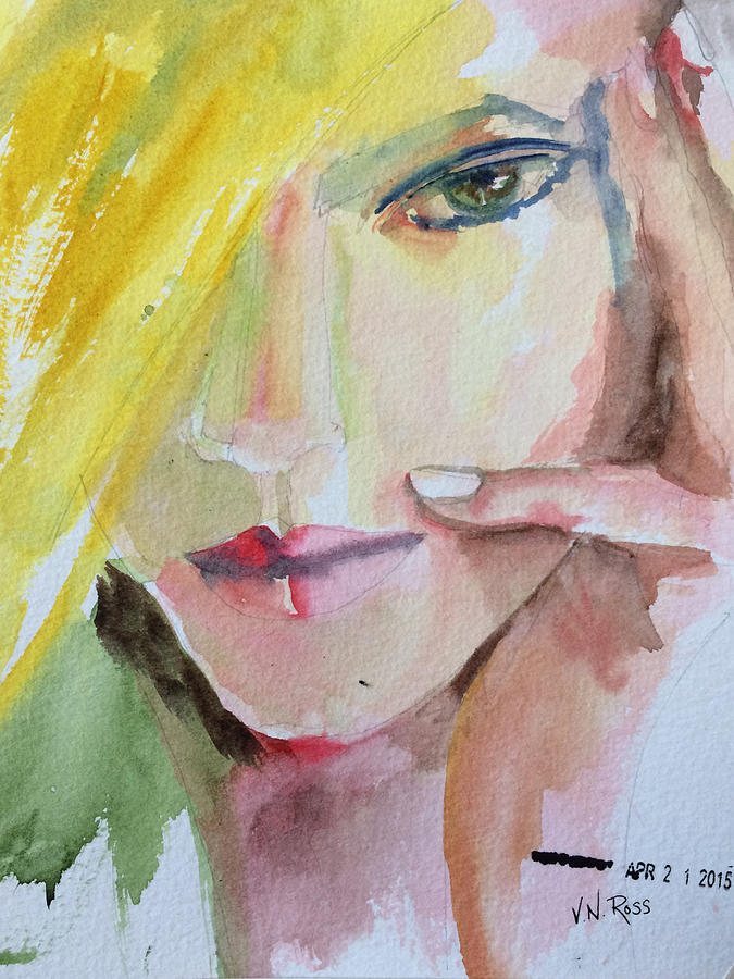 Blonde Painting - California Girl by Vicki Ross