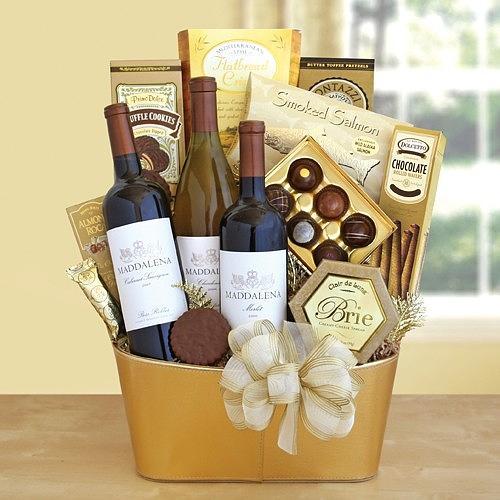 California Golden Bubbles Valentine Wine Gift  Mixed Media by Diva