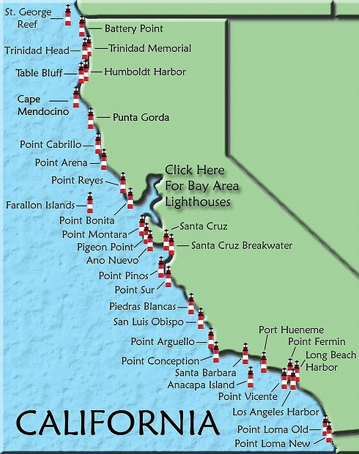 Lighthouses Photograph - California Lighthouse Map by Christine Till