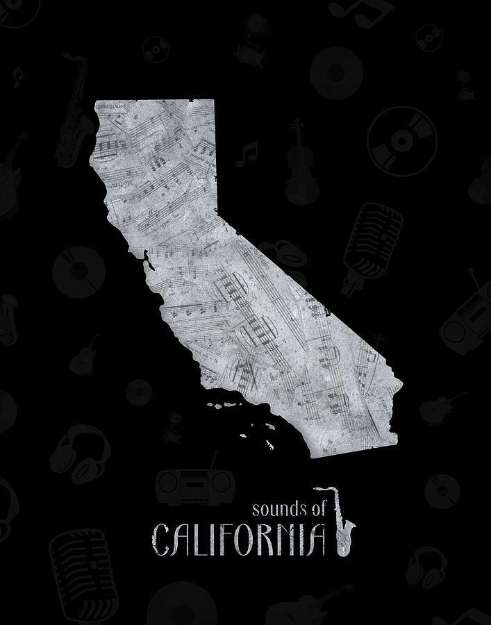 California  Map Music Notes 2 Digital Art
