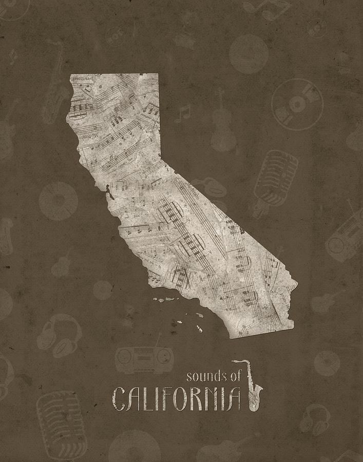 California Map Music Notes 3 Digital Art