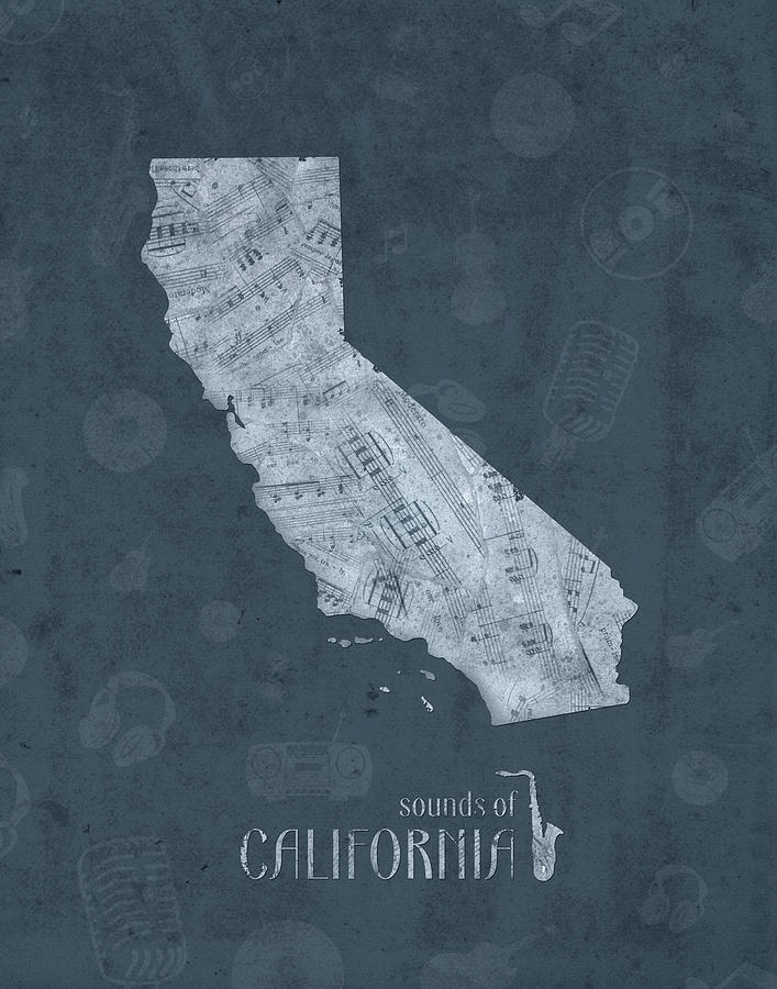 California Map Music Notes 4 Digital Art