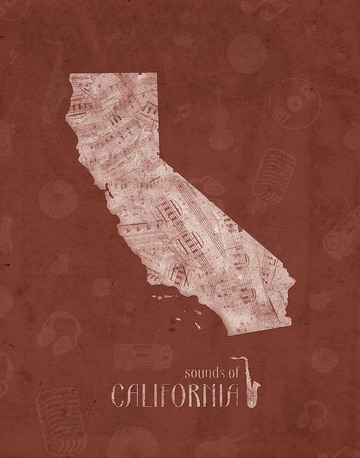 California Map Music Notes 5 Digital Art